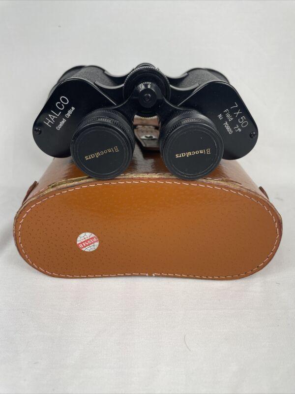 Vintage Halco 7x50 Field Binoculars, Coated Optics, With Case, Made In Japan