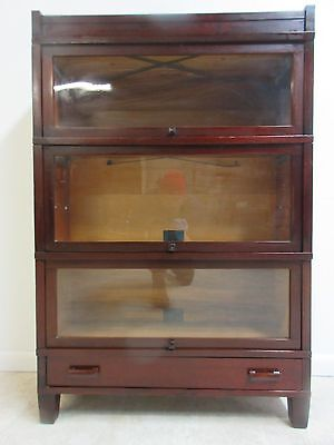 Mahogany Globe Wernicke Barrister Book Case Shelf display 3 Section Stack B