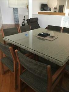 Timber and synthetic Cane 8 Seater Dining Setting