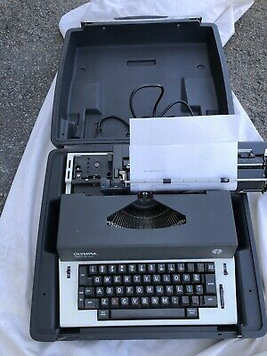 Vintage Olympia Electric Typewriter Report De Luxe White And Grey
