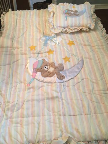 Vintage Red Calliope Baby Bedding Bear Moon 1982 - $64.99