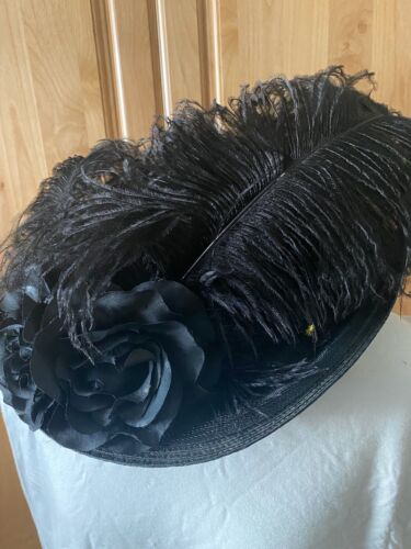 Edwardian Style Black Hat Ostrich feathers by Recollections