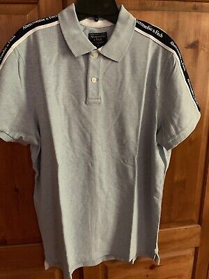 Abercrombie & Fitch Mens SS Logo Tape Stretch Polo MEDIUM $54 M  LIGHT BLUE NEW
