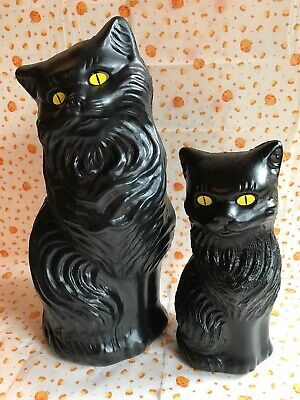 """Blow Mold Halloween Black Cats Decoration Yellow Eyes Pair Plastic 17"""" And 11"""""""
