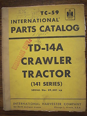 Ih Farmall Mccormick International Td14a 141 Series Crawler Parts Manual