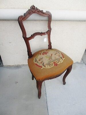 19TH CENTURY CARVED FRENCH PETITE WALNUT CHAIR W/ -