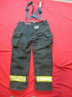 Morning Pride Fire Fighter Turnout Pants 40 X 34 Black Bunker Gear Suspenders