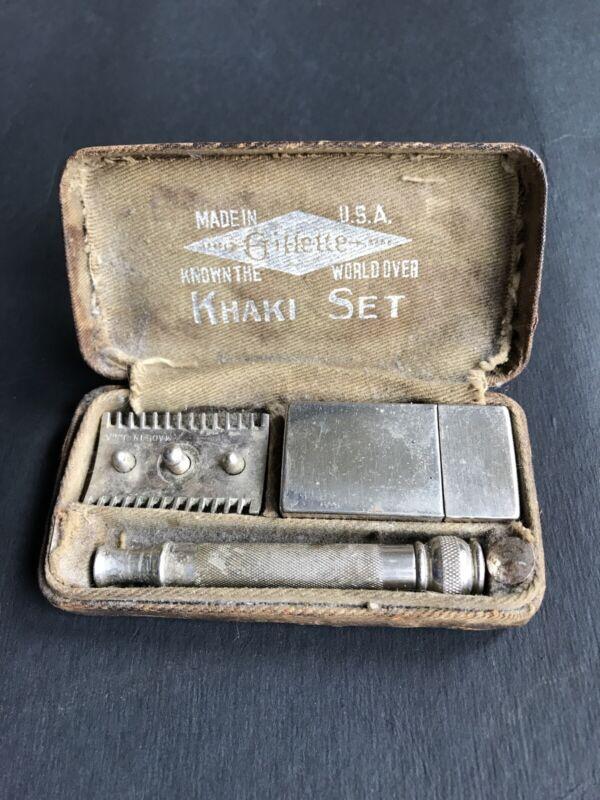 Vintage Gillette U S Army Khaki Safety Razor Set / New blades