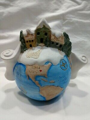 Vintage Ceramic Globe North Pole Christmas Village Good Boy & Girl List