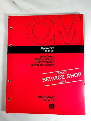 John Deere 5200 5400 Self-propelled Forage Harvester Operators Manual Shop Copy