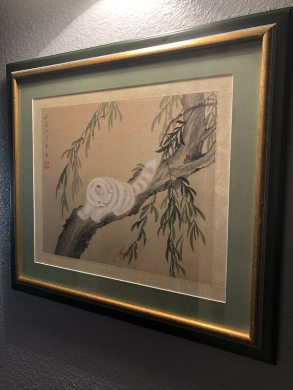 chinese painting on silk Cats Signed