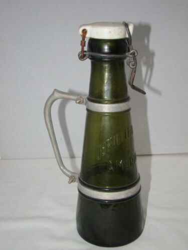 Vtge Green Beer Bottle Porcelain Stopper Handle Cerveceria Centro Americana Rare