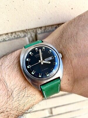 Vintage Citizen Automatic Day Date Black Dial And Lume Markers