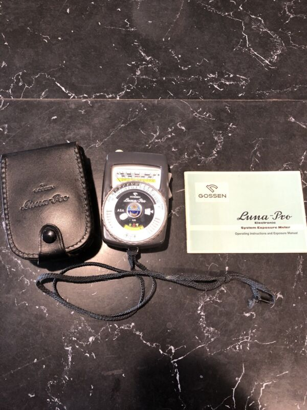 Vintage GOSSEN LUNA PRO Light Meter Original Leather Case WEST GERMANY + Manual