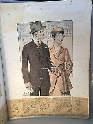 """Vintage Men's Fashion 1915 Edesco Edward E. Strauss Autumn Catalog 22"""" X 16"""""""
