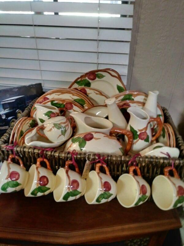 Vintage Service Franciscan Apple Pattern Dinnerware Set Plates & Bowls USA 53 PC
