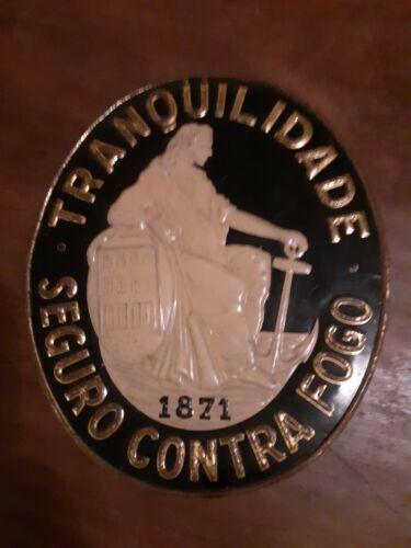 Tranquilidade fire-safe tin plate insurance antique and rare Portugal