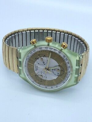 SCG100 Swatch 1993 Chronograph Golden Globe Classic Swiss Made Authentic 37.3mm