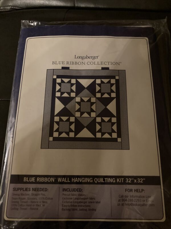 """Longaberger Blue Ribbon Collection Wall Hanging Quilting Kit 32"""" X 32"""" #28675"""