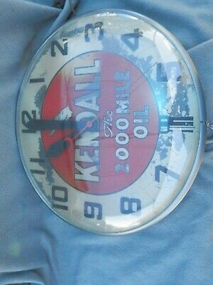 Vintage Kendall The 2000 Mile Oil Lighted Clock Parts Estate Find