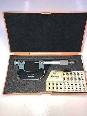 Mitutoyo 126-901 0-1 Screw Thread Vernier Micrometers W Anvil Set 123-800