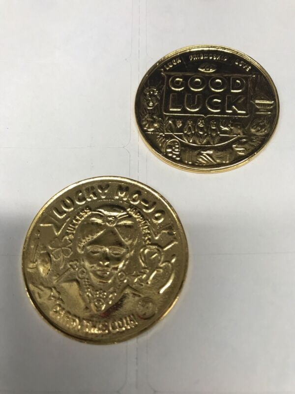 Good Luck Pocket Coin Lucky Charm Mojo Pewter Lead-free Gold-tone Made In U.S.