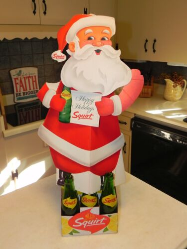 Squirt Soda 1964 Carton Die Cut Sign Christmas Santa Tree