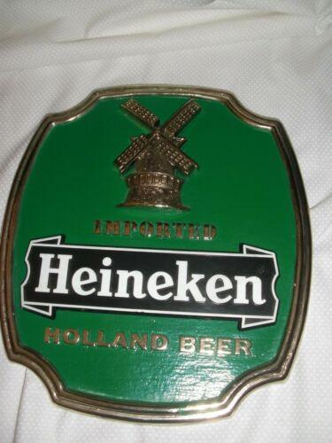 VINTAGE GREEN HEINEKEN IMPORTED HOLLAND BEER EASEL BACK HARD PLASTIC BAR SIGN
