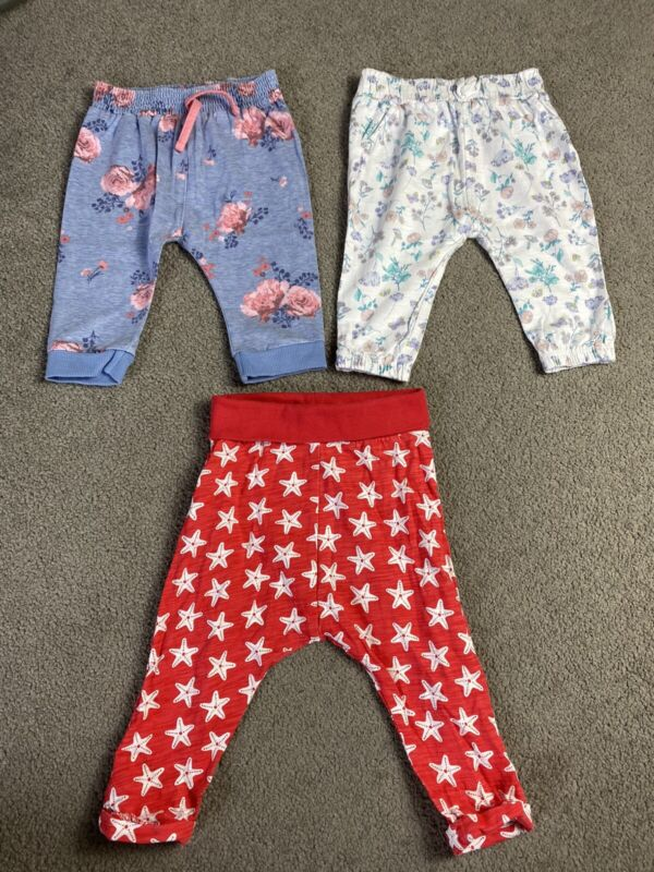 Baby Girl 3-6 Months Soft Trouser Bundle 3 Pairs
