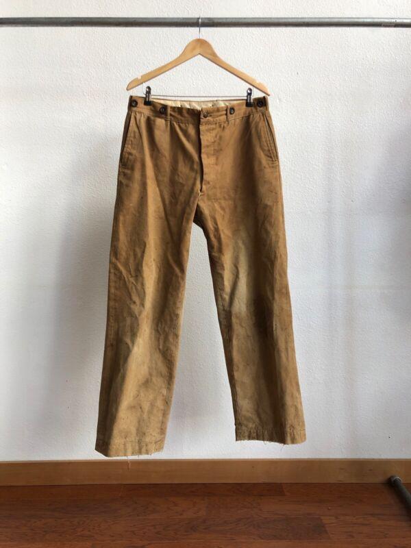 Vintage 1930s Boat Sail Pocket Canvas Work Pants Size 34 X 30