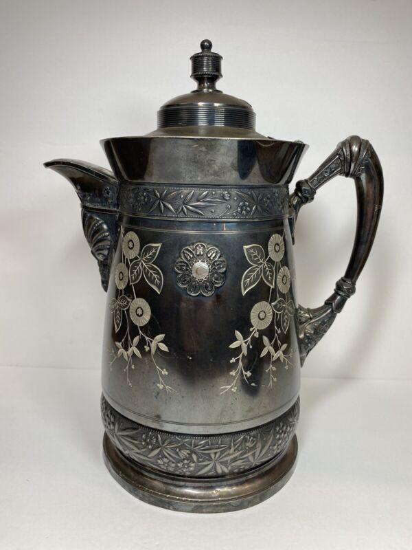 Antique Simpson Hall Miller & Co Quadruple Silver Plate Coffee Teapot Water Jug