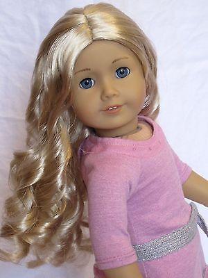 Pretty Custom American Girl Doll Caroline wig, blue eyes, earrings