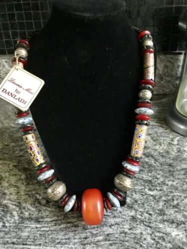 Vintage DANLADI Ethnic Necklace with African Amber Trade Beads and Blue Accents,