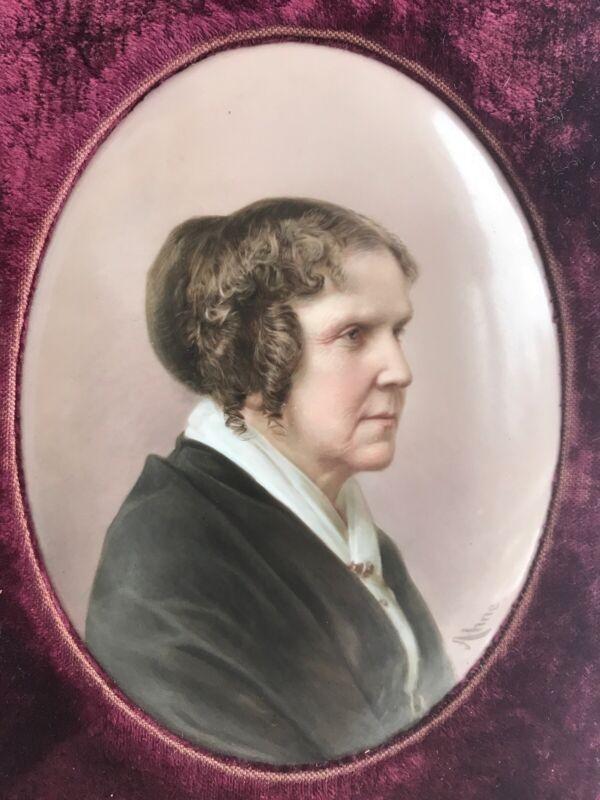 """Antique KPM Porcelain Portrait Painting Hand Painted by Josef Ahne Woman 7"""""""