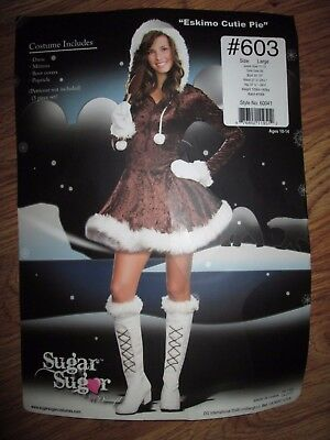 Womens ESKIMO CUTIE PIE Halloween Costume Juniors sz 11 - 13 L lg Dreamgirl Womens Cutie Pie