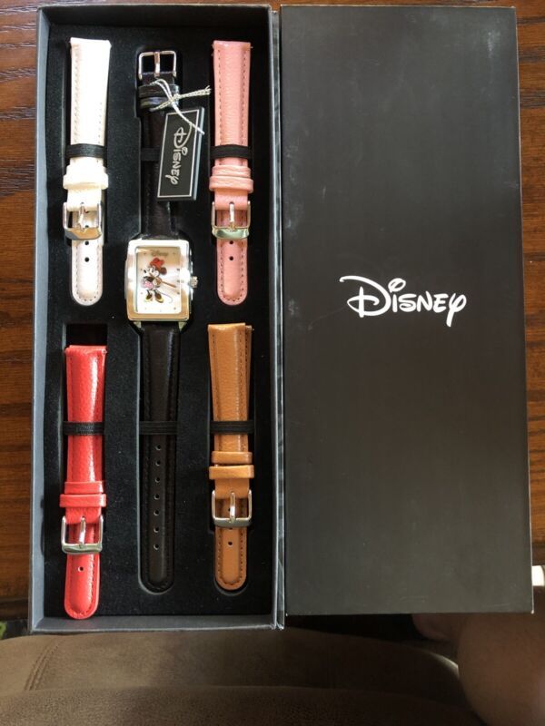 New Authentic Disney Minnie Mouse Boxed Silver Tone Watch Set 5 Leather Bands