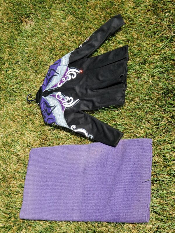 Two Creeks Horsemanship Show Top with matching purple show pad