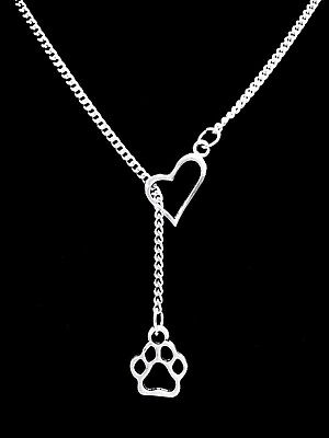 - Paw Print Necklace Dog Cat Animal Lover Fur Baby Heart Lariat Gift Jewelry
