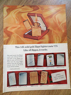 1965 ZIPPO Lighter Ad  This 14K Solid Gold Lighter Cost $175 Like All it Works