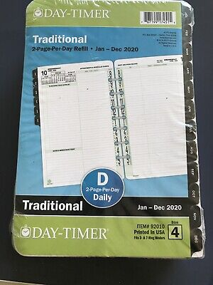 2020 Day-timer 5 12 X 8 12 Two Page Per Day Refill 92010 Traditional
