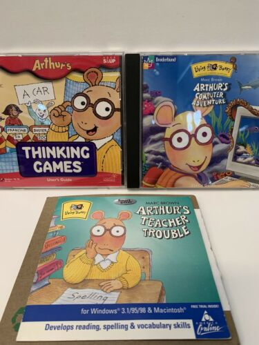 Computer Games - Lot of 3 Arthur's Thinking Games Computer Adventure & Teacher Trouble for PC
