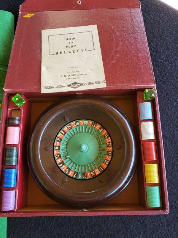 Vintage Roulette Gambling Casino Game E.S. Lowe Co. Wheel Chips Felt Ball Manual