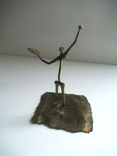 Mid Century Modern Brutalist Nail Art Tennis Figurine Sculpture Signed Bunker 73
