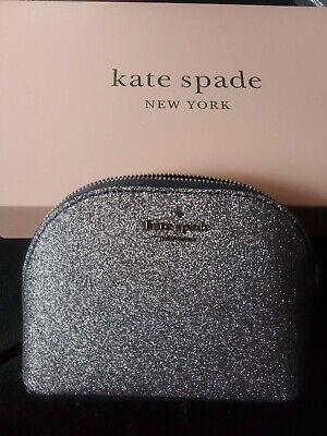Kate Spade Joeley Small Dome dusk Navy Gray Cosmetic Makeup Bag NWT WLRU5759