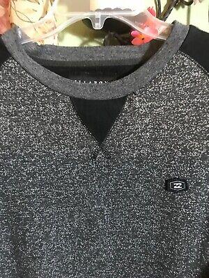 GREAT BILLABONG GRAY & BLACK SWEATSHIRT SIZE L COTTON POLY BLEND LS FRONT POCKET Billabong Cotton Sweatshirt