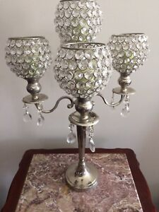 Crystal candle holder with 5 candles
