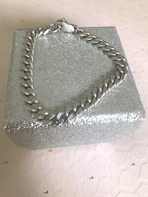 Solid Silver Cuban Link Chain Bracelet