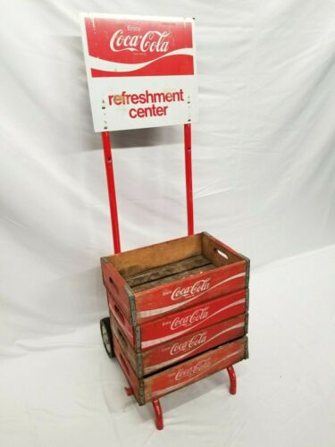 Vintage Coca Cola Advertising Bottle Crate Hand Truck Dolly