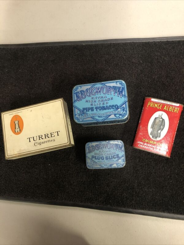 """VINTAGE LOT OF Four """"4"""" Used Old TOBACCO TINS"""
