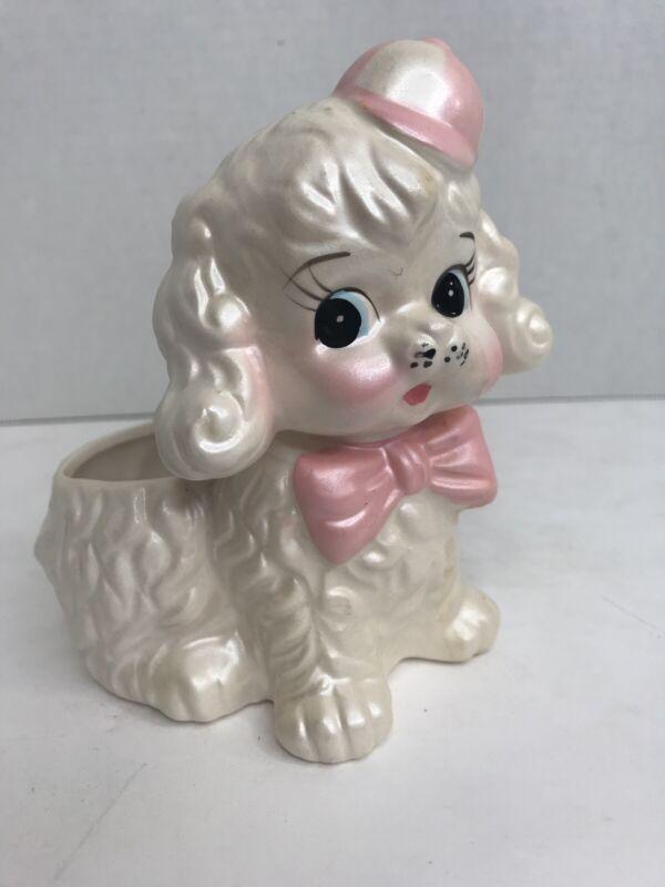 Vintage MCM Japan White Pink Poodle Dog Puppy Planter Figurine Hand Painted EUC